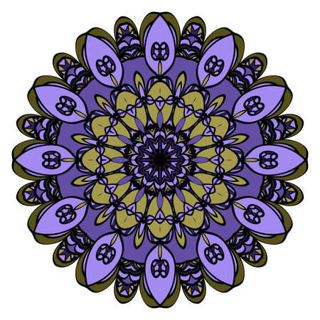 Abstract Flower design Mandala. Decorative round elements. Oriental pattern, vector illustration.Coloring book page
