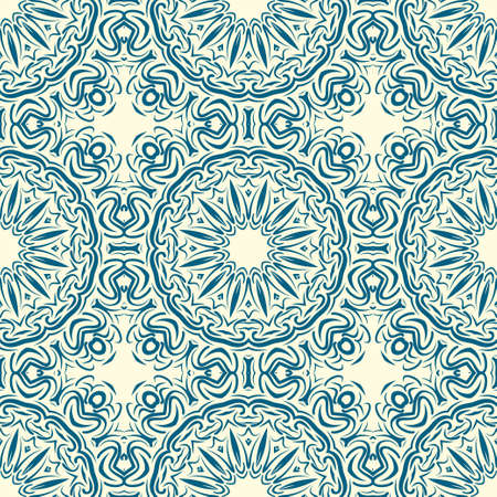 pattern with geometric color elegant ornament, design for print fabric, bandana. vector illustration. blue tone.