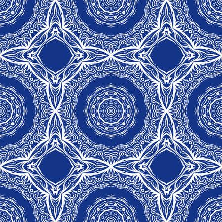 pattern with geometric color elegant ornament, design for print fabric, bandana. vector illustration. blue tone.