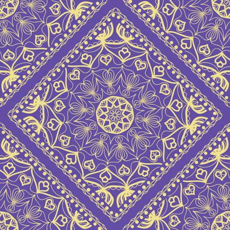 Decorative Square Template for Fabric Print. Azhure floral seamless pattern. Vector illustration. For fabric, bandana, carpet, shawl design.