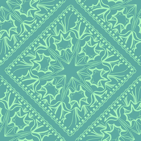 Mandala graphic background, square pattern with floral geometric ornament. vector illustration. For Bandanna fabric print, neck scarf or rug. Vettoriali