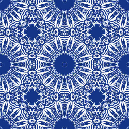 seamless lace floral background. Luxury texture for wallpaper, invitation. Vector illustration. blue, white color