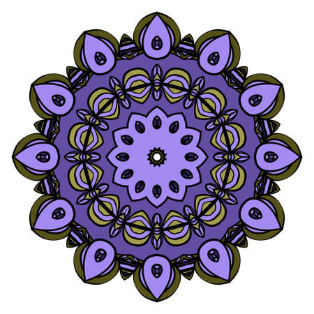 Flower Mandala. Vintage decorative ornament. Oriental pattern, vector illustration. Arabic, Indian, moroccan, chinese, mystic, ottoman motifs. Coloring book page