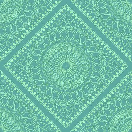 Decorative Square Template for Fabric Print. Azhure floral seamless pattern. Vector illustration. For fabric, bandana, carpet, shawl design. Vektorové ilustrace