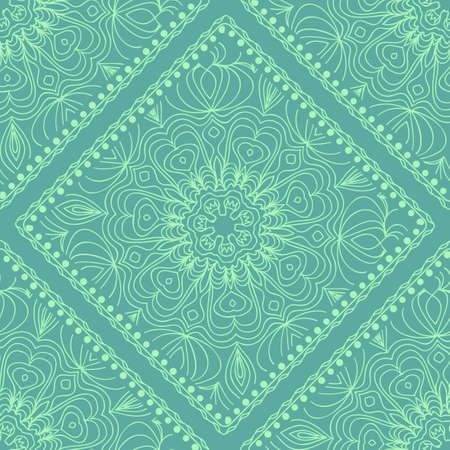 Mandala graphic background, square pattern with floral geometric ornament. vector illustration. For Bandanna fabric print, neck scarf or rug. Vector Illustratie
