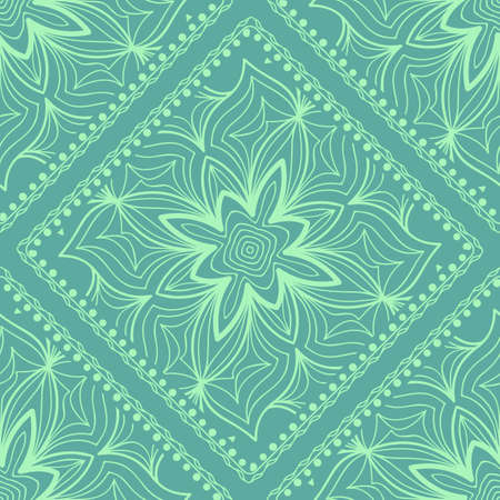 Design of a seamless with a Geometric Flower Pattern of Mandala. Vector illustration. color. For Print Bandana, Shawl, Carpet