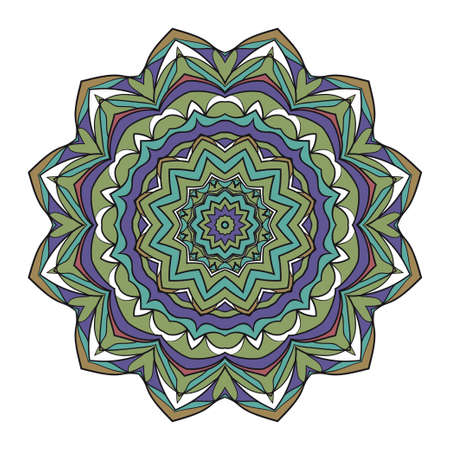 Mandala Style Vector Shapes. Decorative Cicle ornament. Floral design. Color illustration Ilustração