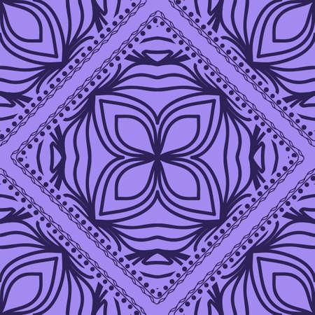 Mandala graphic background, square pattern with floral geometric ornament. vector illustration. For Bandanna fabric print, neck scarf or rug. Vektoros illusztráció