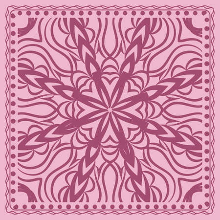 Design print for kerchief. The pattern of the mandala. Vector illustration. The idea for design prints for neck scarves, carpets, bandanas