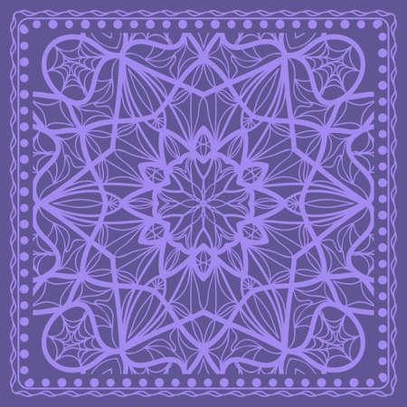 Design print for kerchief. The pattern of the mandala. Vector illustration. The idea for design prints for neck scarves, carpets, bandanas