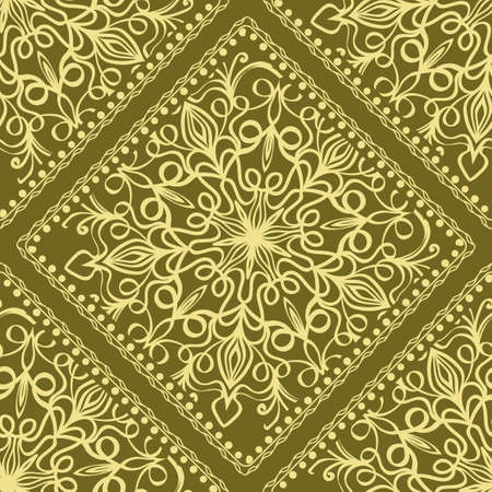 Mandala graphic background, square pattern with floral geometric ornament. vector illustration. For Bandanna fabric print, neck scarf or rug. Vectores