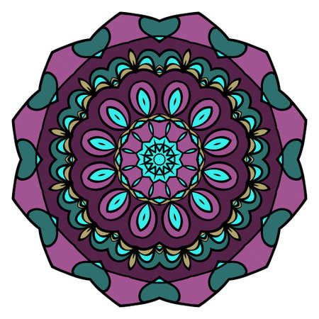 Mandala Style Vector Shapes. Decorative Cicle ornament. Floral design. Color