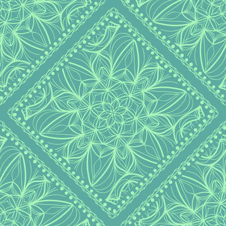 Vector nature seamless pattern with abstract floral ornament. Round mandala in childish style. Doodle background for fabric print, tablecloth, bedcloth Illustration