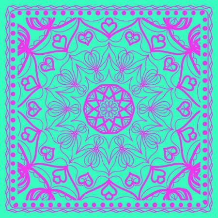 vector illustration. pattern with floral mandala, decorative border. design for print fabric, textile Illustration