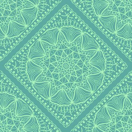 Template Print for Fabric. Pattern of Mandala with Border. Vector illustration. Seamless. For Print Bandana, Nashnoy Shawl, Carpet
