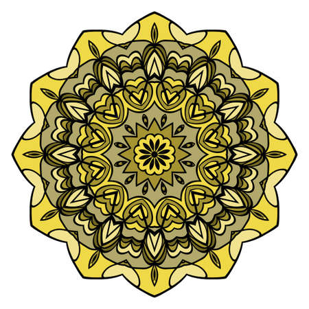 mandala round ornament design for greeting card, invitation. vector illustration Illusztráció