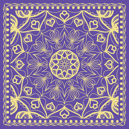 Decorative Geometric Pattern With Round Ornament in Ethnic Style. Abstract Floral Mandala Art. vector illustration. For Fashion Background, Wallpaper, Home Decor, Interior Design