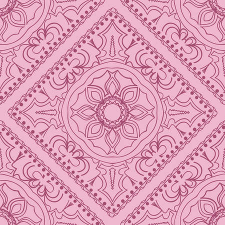 Template Print for Fabric. Pattern of Mandala with Border. Vector illustration. Seamless. For Print Bandana, Nashnoy Shawl, Carpet