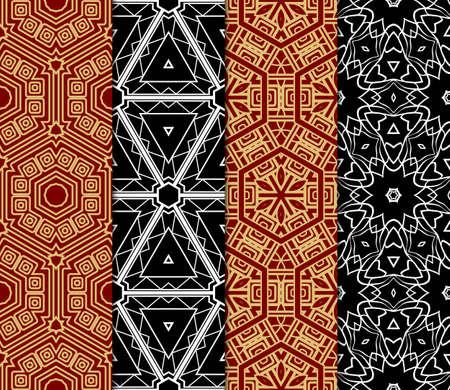 Colorful decorative pattern set in bright tones. Vector illustration. Fashion design