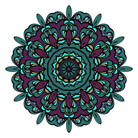 Vector hand drawn flower symbol illustration. Color mandala design. For fashion, web, surface design