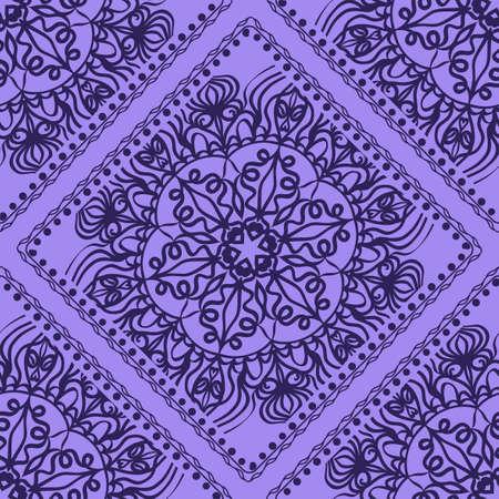Vector illustration. pattern with floral mandala, decorative seamless ornament. design for print fabric, bandana. 向量圖像