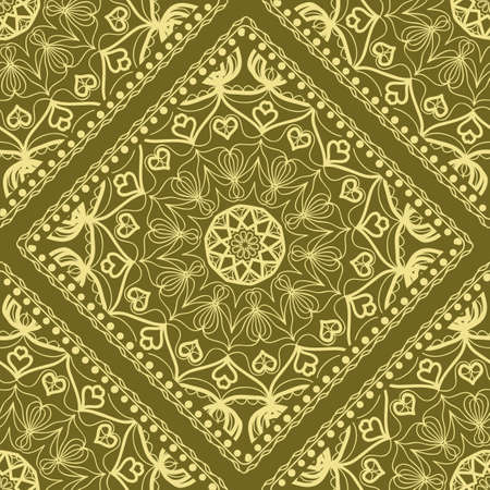 Vector nature seamless pattern with abstract floral ornament. Round mandala in childish style. Doodle background for fabric print, tablecloth, bedcloth