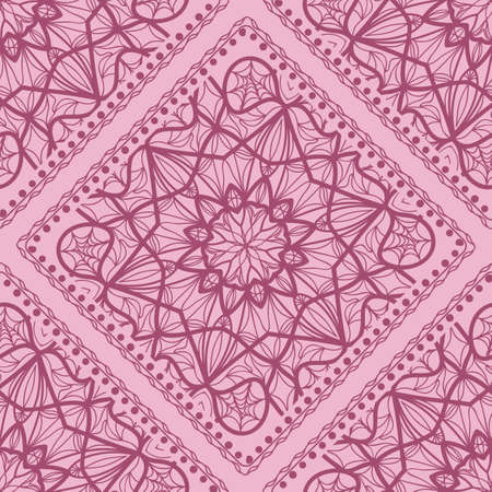 Mandala graphic background, square pattern with floral geometric ornament. vector illustration. For Bandanna fabric print, neck scarf or rug. 矢量图像