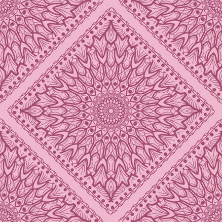 Design of a Scarf with a Geometric Flower Pattern of Mandala. Vector illustration. Seamless. For Print Bandana, Shawl, Carpet, tablecloth, bed cloth, fashion