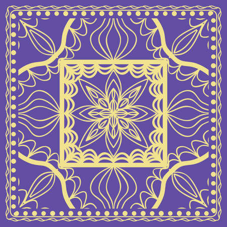 vector illustration. pattern with floral mandala, decorative border. design for print fabric, textile Illusztráció