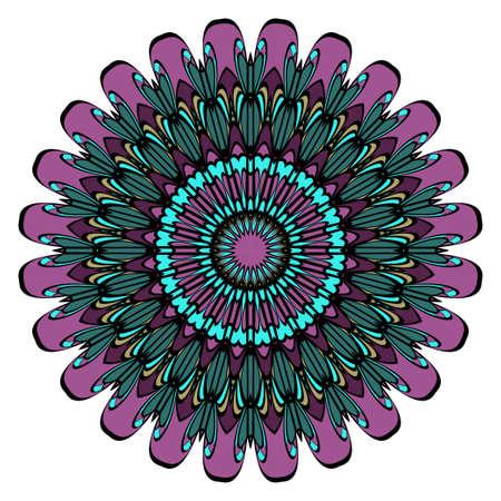 mandala round ornament design for greeting card, invitation. vector illustration 矢量图像