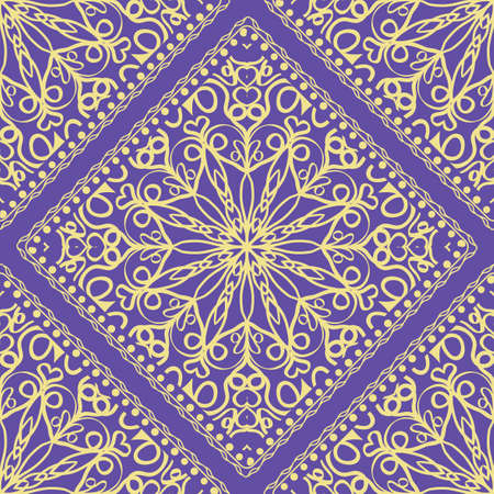 pattern with floral mandala, decorative border. design for print fabric, bandana. Ornamental Vector Background. color Illustration