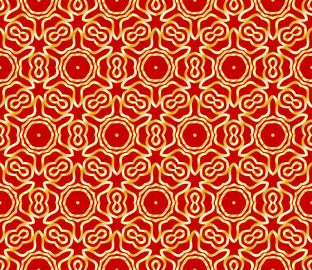 Beautiful flower pattern. decorative seamless ornament. gold, red color. for design, wallpaper, invitation.