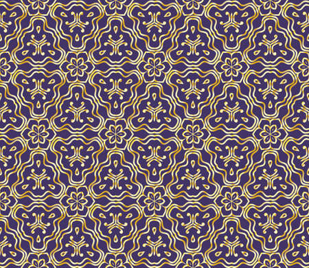 Beautiful geometric ornament. seamless art-deco floral pattern. For design, wallpaper, background. vector illustration. purple, gold color