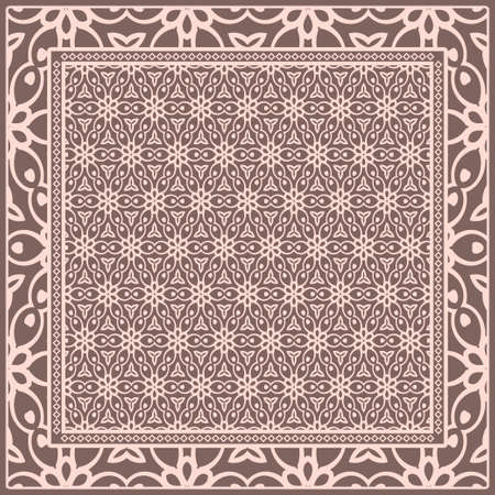 Template print for Sofa Square Pillow. Floral Geometric Pattern with hand-drawing Mandala. illustration. For fabric, textile, bandana, scarg, carpet print
