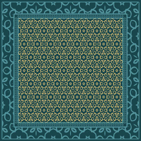 fond, motif géométrique avec cadre en dentelle ornée. illustration. pour impression d'écharpe, tissu, couvertures, scrapbooking, bandana, paréo, châle.