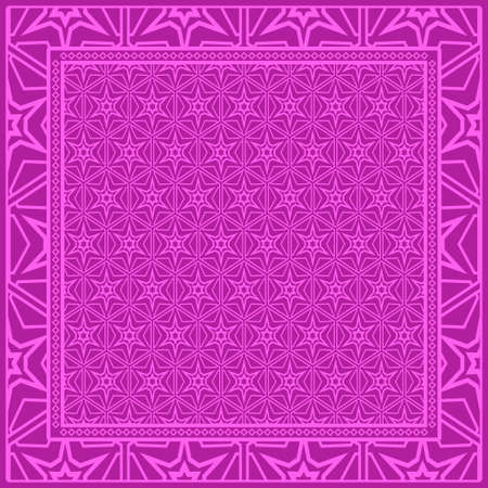 Geometric Pattern with hand-drawing floral ornament. illustration. For fabric, textile, bandana. Illustration