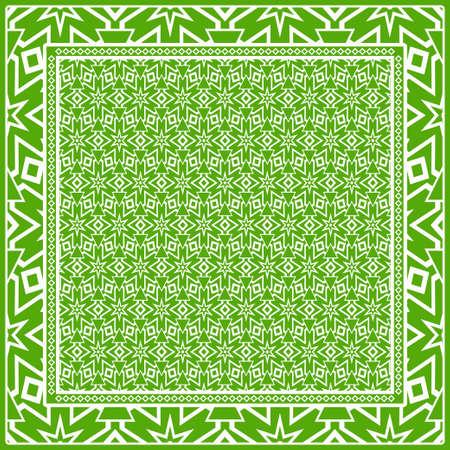 Geometric ornament with frame, border. Art-deco background. Bandanna, shawl, scarf, tablecloth design