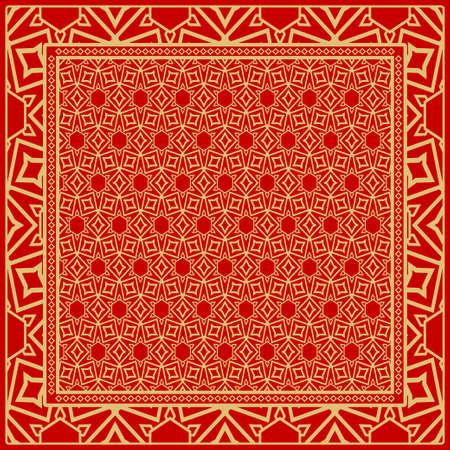 fondo, patrón geométrico con marco de encaje adornado. ilustración. para Estampado de Bufanda, Tela, Fundas, Scrapbooking, Bandana, Pareo, Chal