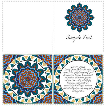 Vintage greeting card with mandala background. Luxury vector ornament template. The front and rear side