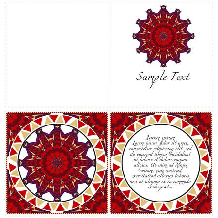 Cards or Invitations set with mandala design . The front and rear side. Vector illustration