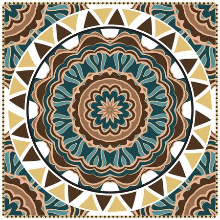 Decorative colorful ornament with round mandala decoration. symmetric pattern . For print Bandanna, shawl, tablecloth, fabric fashion, scarf, design.