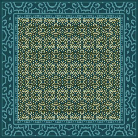 Geometric Pattern with hand-drawing floral ornament. illustration. For fabric, textile, bandana, scarg, print.