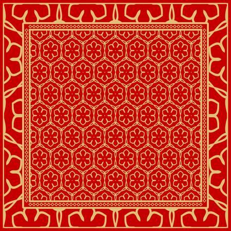 Motif géométrique avec ornement floral dessin à la main. illustration. Pour tissu, textile, bandana, scarg, impression.