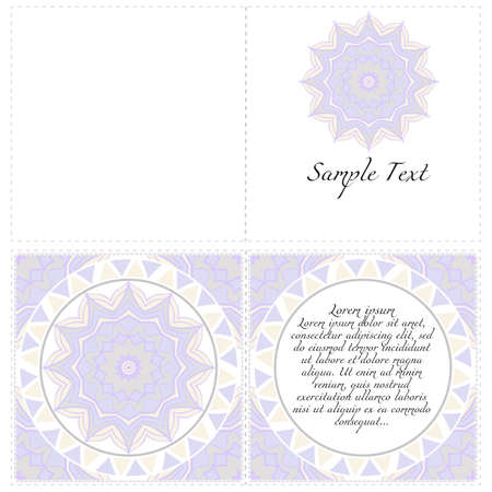 Invitation or Card template with floral mandala pattern. Decorative background for Wedding, greeting cards, Birthday Invitation. The front and rear side