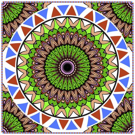 Floral Pattern with hand-drawing Mandala. illustration. For fabric, textile, bandana, pillowcarpet print.