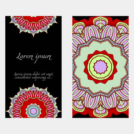 The front and rear side. mandala design elements. Wedding invitation, thank you card, save card, baby shower. Vector illustration.