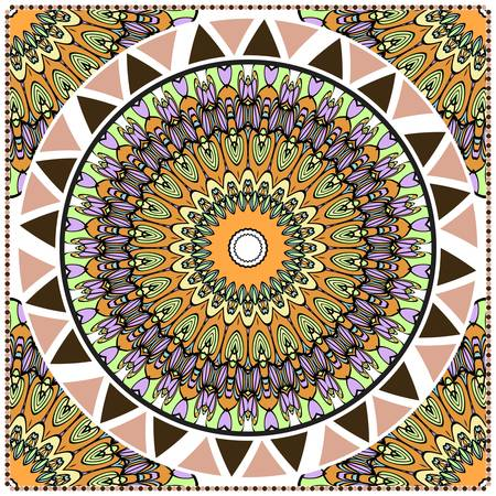 Ornamental floral print with color mandala. For design of carpet, shawl, pillow, cushion. Vector illustration. Vettoriali