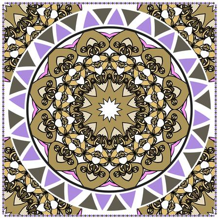 ornamental floral pattern for fashion print. Ethnic mandala decoration. For fashion print, bandanna, tablecloth, neck scarf.