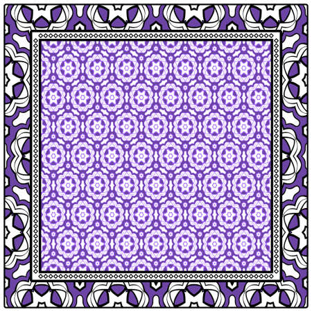 Design for square fashion print. For pocket, shawl, textile, bandanna. Geometric floral pattern. Vector illustration