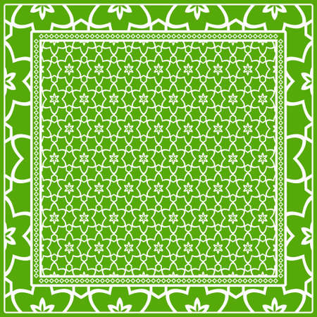 Design of a Scarf with a Geometric Flower Pattern . Vector illustration. Seamless. For Print Bandana, Shawl, Carpet, tablecloth, bed cloth, fashion. Zdjęcie Seryjne - 107451392